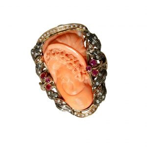 Ring with cameo, diamonds and rubies