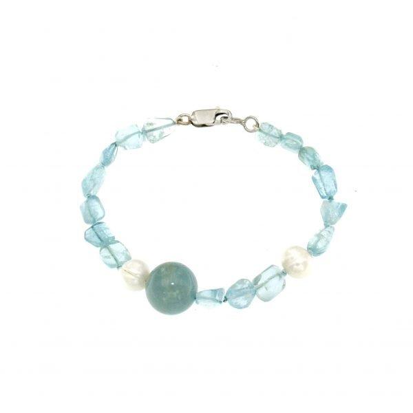 Bracciale di gemme di acquamarina e perle