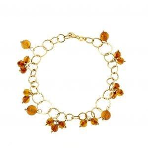 Bracciale in oro giallo e ambra