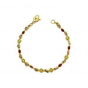 Bracciale in oro rubini e peridoto