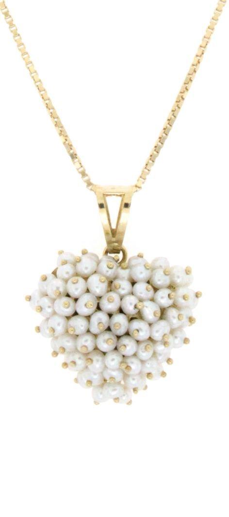 Ciondolo a forma di cuore di perle cipolline di acqua dolce