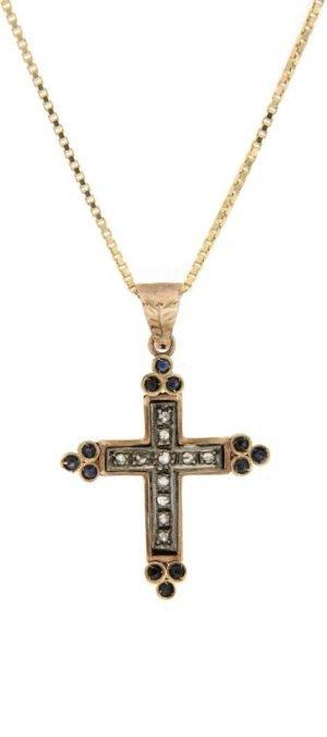 Ciondolo con simbolo religioso a forma di croce con diamanti taglio rosa  coroné e zaffiri