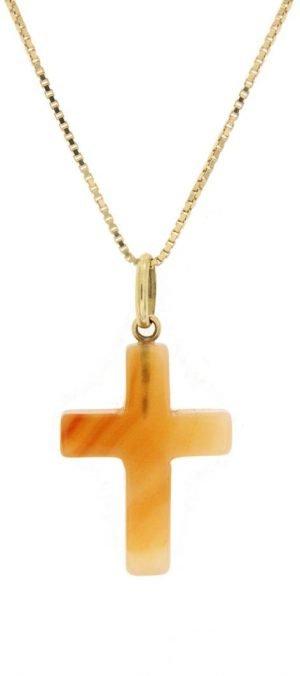 Ciondolo in corniola a forma di croce
