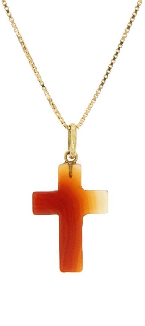 Ciondolo in corniola raffigurante simbolo religioso a forma di croce