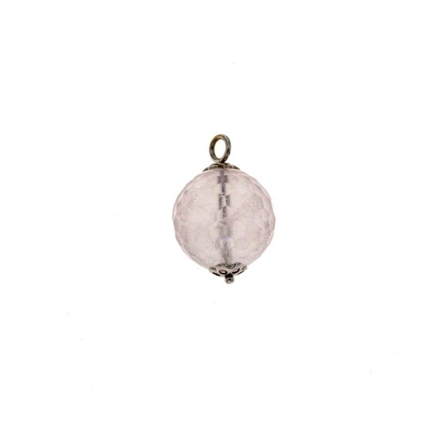 Ciondolo in oro bianco e boule di quarzo rosa naturale sfaccettato