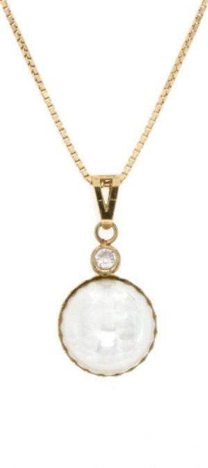 Ciondolo in oro con perla mabè naturale coltivata e zircone