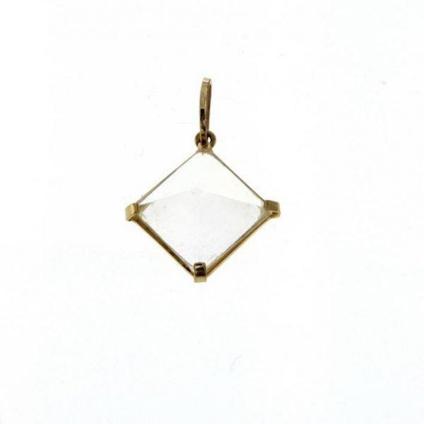 Ciondolo in oro con piramide di quarzo jalino naturale