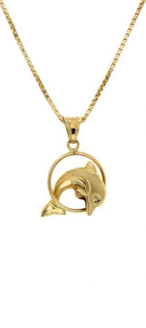 Ciondolo in oro raffigurante un delfino che salta