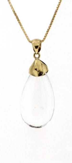 Ciondolo in quarzo jalino o cristallo di rocca a forma di goccia