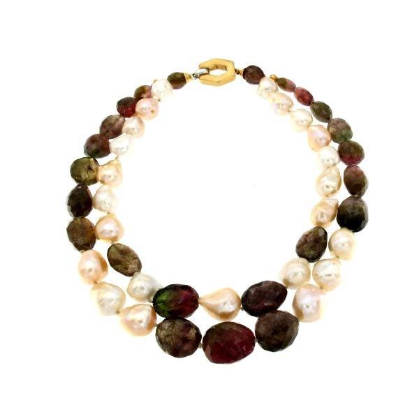 Collana a due fili di perle e tormalina