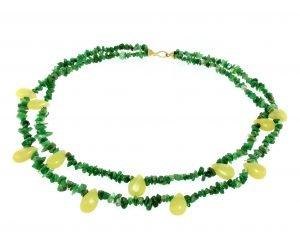 Collana a due fili di smeraldo in radice e gocce di prehnite