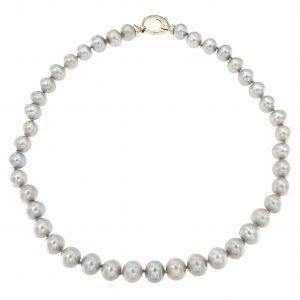 Collana classica girocollo di perle grigie