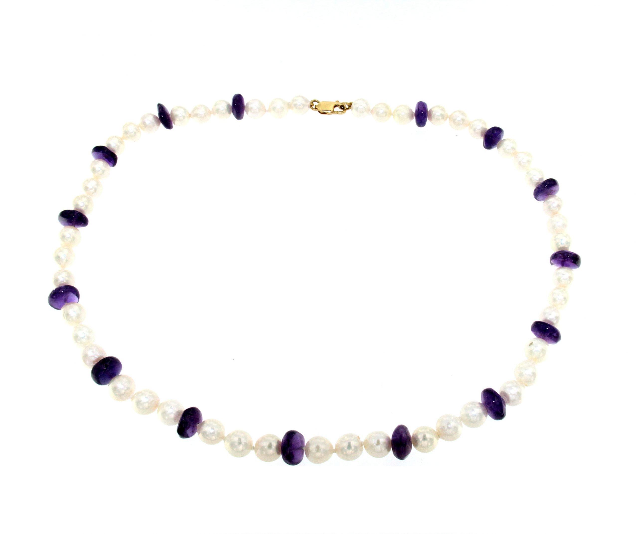 Collana con perle di mare e ametista