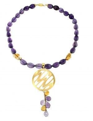 Collana di ametista e citrino con pendente in oro