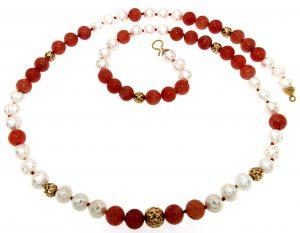 Collana di aragonite e perle