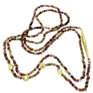 Collana di gemme di tormalina policroma e oro