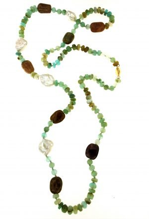 Collana di opale andino tormaline e perle