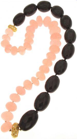 Collana di ossidiana quarzo rosa naturale