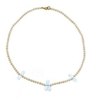 Collana di perle cipolline coltivate in acqua dolce e goccie di topazio azzurro