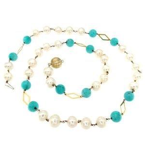 Collana di perle e amazzonite