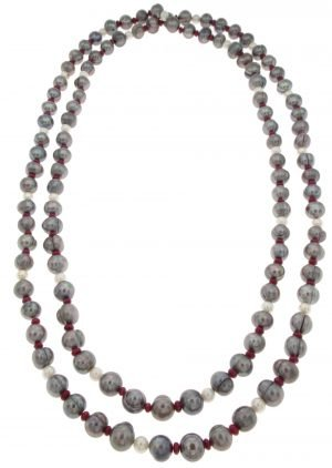 Collana di perle naturali coltivate grigie e rubini