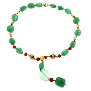 Collana di smeraldi e corallo di sciacca naturale