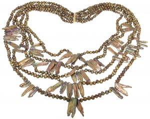 Collana etnica di perle Keshi