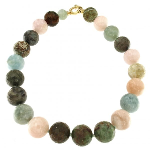 Collana girocollo di acquamarina e opale andino