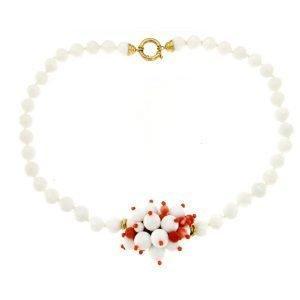 Collana girocollo di agata bianca e corallo