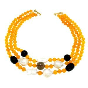 Collana girocollo di agata gialla perle e onice nero