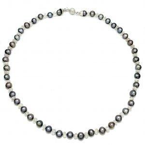 Collana girocollo di perle grigie e labradorite