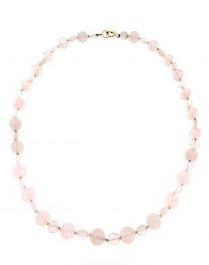 Collana girocollo di quarzo rosa
