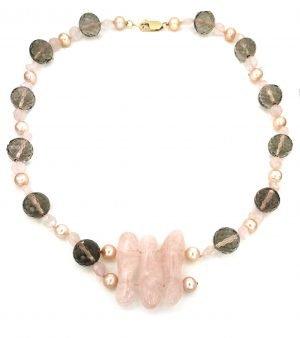 Collana girocollo di quarzo rosa perle e quarzo fume'
