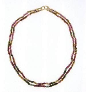 Collana girocollo due fili in tormaline multicolor