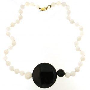 Collana girocollo in agata bianca e nera