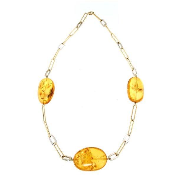 Collana girocollo in oro e ambra