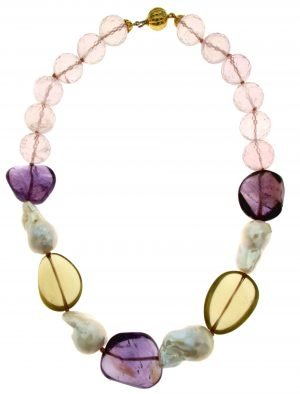 Collana girocollo multicolor di pietre burattate naturali