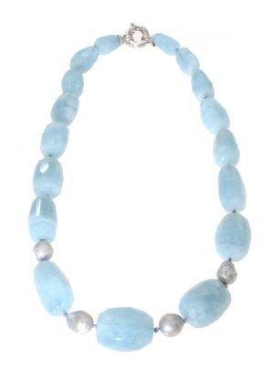 Collana in acquamarina naturale con perle grige