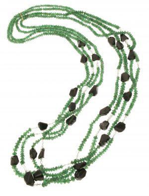 Collana in agata verde tormalina e quarzo jalino