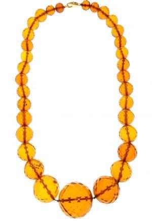 Collana in ambra con boules sfaccettate antica