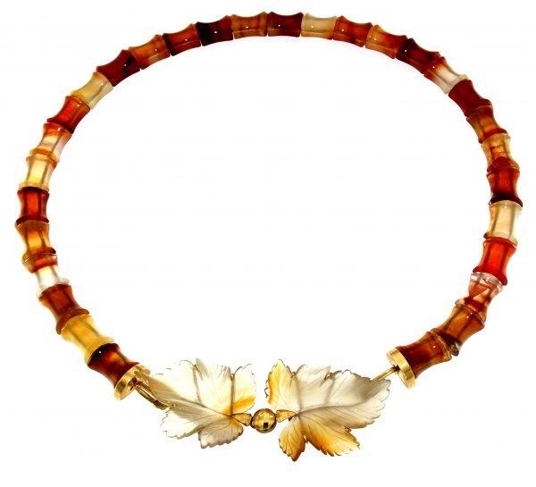 Collana in corniola con foglie d'agata