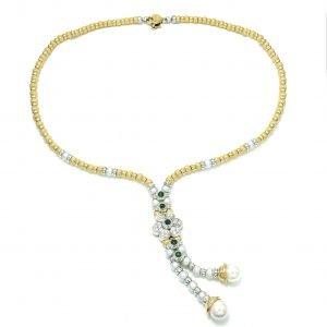 Collana in oro giallo perle smeraldi e diamanti