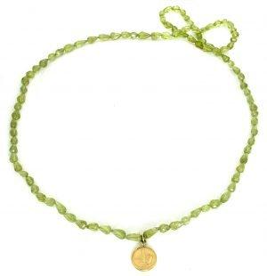 Collana in peridoto con pendente in oro giallo