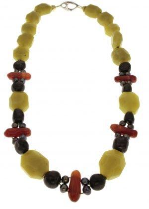 Collana in serpentino perle grigie shungite e corniola