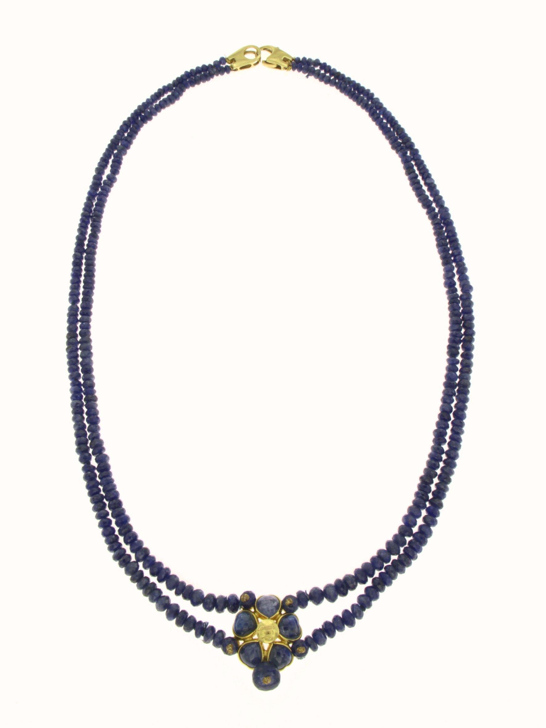 Collana in zaffiro di due fili centrale in oro