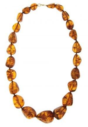 Collana lunga con elementi di ambra