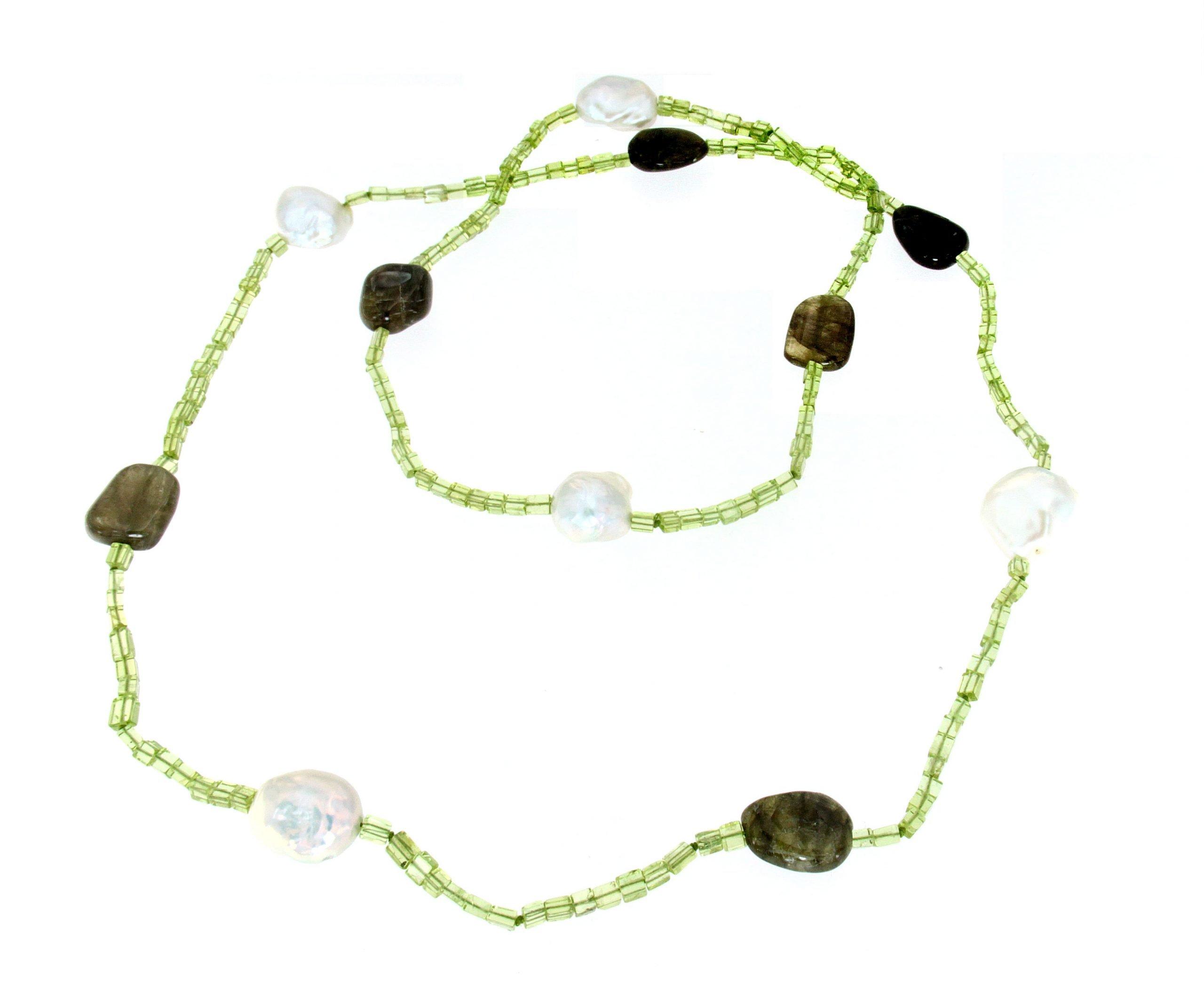 Collana lunga di peridoto perle tormalina
