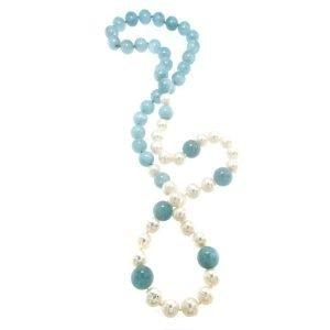 Collana lunga di perle e acquamarina