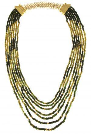 Collana multi-filo di cromo-tormalina