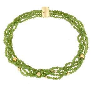 Collana multifili di diaspro verde e oro giallo